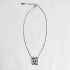 Napier Silver Double Chain Encrusted Box Necklace